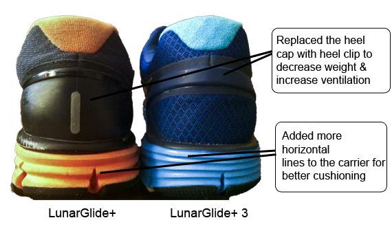 Lunarglide 1 vs 3 - Rear View